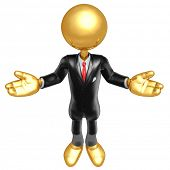Gold Guy Businessman Presenter Character