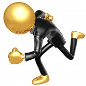 Gold Guy Businessman Running