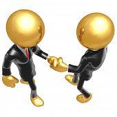 Gold Guy Businessmen Shaking Hands