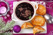 Red Borscht And Pastries With Mushrooms For Christmas