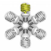 yellow Spiral Light Bulb And White Ones Lying Radially