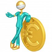 Gold Guy Doctor With Euro Coin