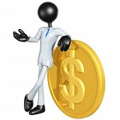 3D Businessman With Gold Dollar Coin
