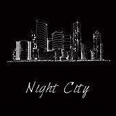 Night city skyline sketch