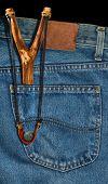 Old Slingshot In Denim Pocket