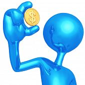 3D Character Holding Dollar Coin