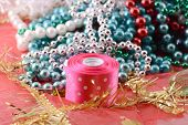 Christmas Balls, Diamonds And Ribbon, New Year Decoration