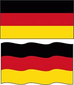 Flat and waving Germany Flag. Vector