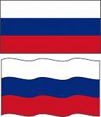 Flat and waving Russian Flag. Vector