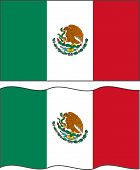 Flat and waving Mexican Flag. Vector