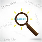 A Magnifying Glass Finds The Word Be Possible.