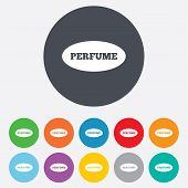 Perfume sign icon. Glamour fragrance oval symbol