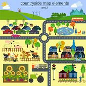 Contryside Map Elements For Generating Your Own Infographics, Maps