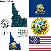 Map Of State Idaho, Usa