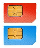 foto of micro-sim  - two sim cards isolated on white background - JPG