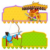 foto of ravana  - easy to edit vector illustration of Rama killing Ravana in Dussehra - JPG