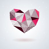 Geometric heart for Valentines Day design.