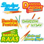 foto of navratri  - easy to edit vector illustration of people doing Dandiya in Navratri - JPG