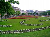 View of Mirabell gardens and the centre of Salzburg