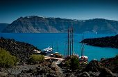 pic of nea  - The port on the volcanic island named Nea Kameni - JPG