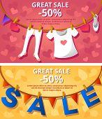 Sale banners. Garlands. Vector illustration.