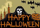 foto of reaper  - Happy Halloween card with the reaper and candles - JPG