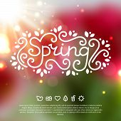 Spring lettering. Vector illustration. Blurred background