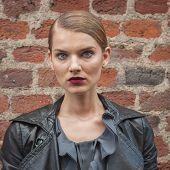 Beautiful Model Outside Trussardi Fashion Shows Building For Milan Women's Fashion Week 2014