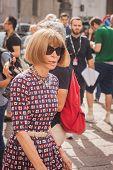 Anna Wintour Outside Ferragamo Fashion Show Building For Milan Women's Fashion Week 2014