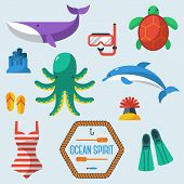 Sea objects collection.Vector illustration.