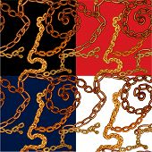 Set Of Seamless Patterns With Handdrawn Gold Chains On Black, Red, Blue And White Backgrounds.