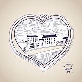 Pen Drawing Native Style Heart Shape Witn Urban Art