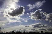 Dynamic Blue Sky Over The City