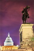 Us Grant Statue Memorial Us  Capitol Construction Evening Stars Washington Dc