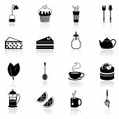 Tea icons set black