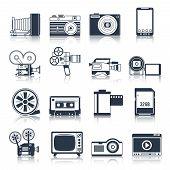 Photo video icons set black
