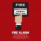 Hand Push Fire Alarm Button.