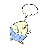 foto of nursery rhyme  - cartoon humpty dumpty egg character with thought bubble - JPG