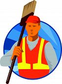 foto of sweeper  - Illustration of a janitor cleaner sweeper holding broom on shoulder facing front set inside circle done in art deco retro style - JPG
