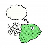 cartoon fish head with thought bubble