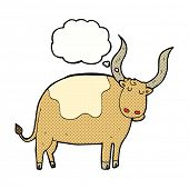 image of oxen  - cartoon ox with thought bubble - JPG