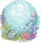 Underwater Illustration of Marine Animals Swimming Around Corals and Seaweeds
