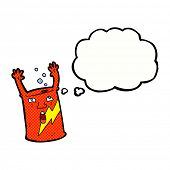 cartoon soda can character with thought bubble