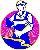 pic of mason  - Illustration of a mason construction working holding trowel rolling up sleeves laying bricks set inside circle with sunburst in the background done in retro style - JPG