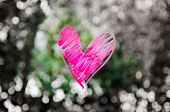 stock photo of glass heart  - heart painted on glass - JPG