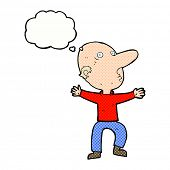 cartoon worried middle aged man with thought bubble