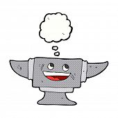 picture of anvil  - cartoon blacksmith anvil with thought bubble - JPG