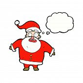 cartoon shocked santa claus with thought bubble
