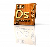Darmstadtium Periodic Table Of Elements - Wood Board poster