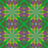 Symmetrical Pattern In Stained-glass Window Style. Yellow And Green Palette. Computer Generated Grap